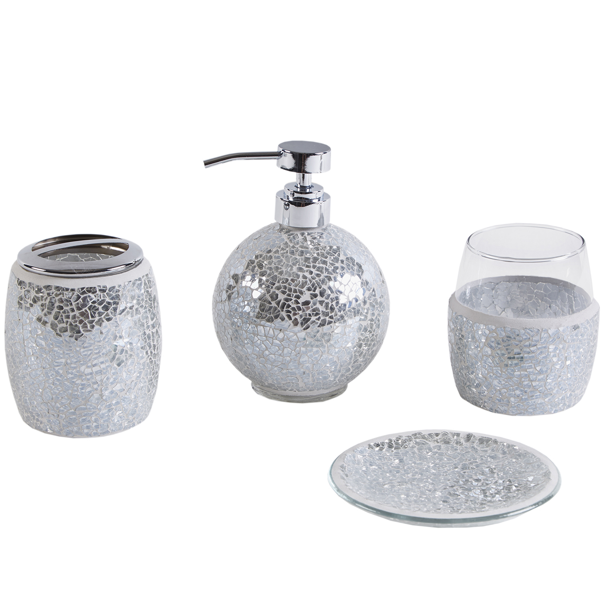 Home Essence Mosaic Four-Piece Bath Accessory Set by E&E Co.Ltd