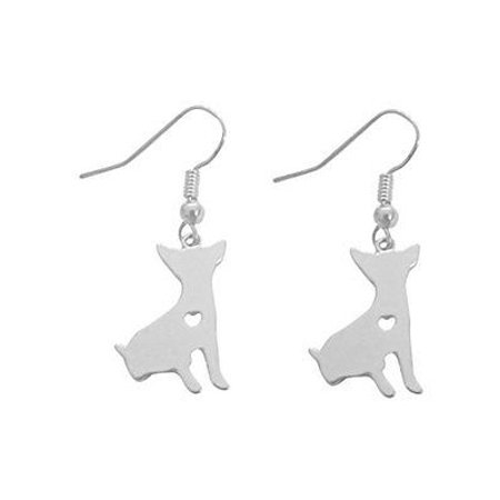 Art Attack Silvertone I Love My Dog Lover Heart Outline Sitting Chihuahua Pet Puppy Rescue Pendant Earrings