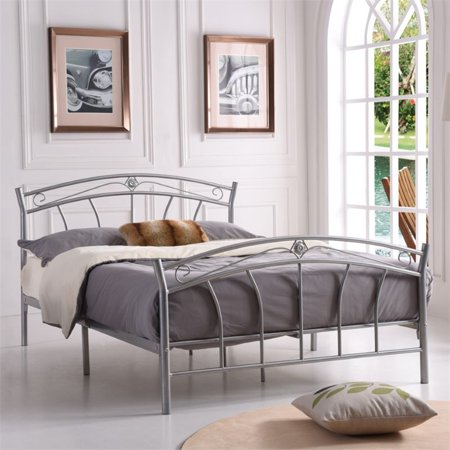 Hodedah Complete Metal Queen Size Bed in Silver - image 1 de 3
