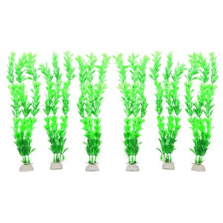 6pcs Green Plastic Aquarium Fish Tank Aquatic Underwater Leaves Plant Ornaments - image 3 de 3