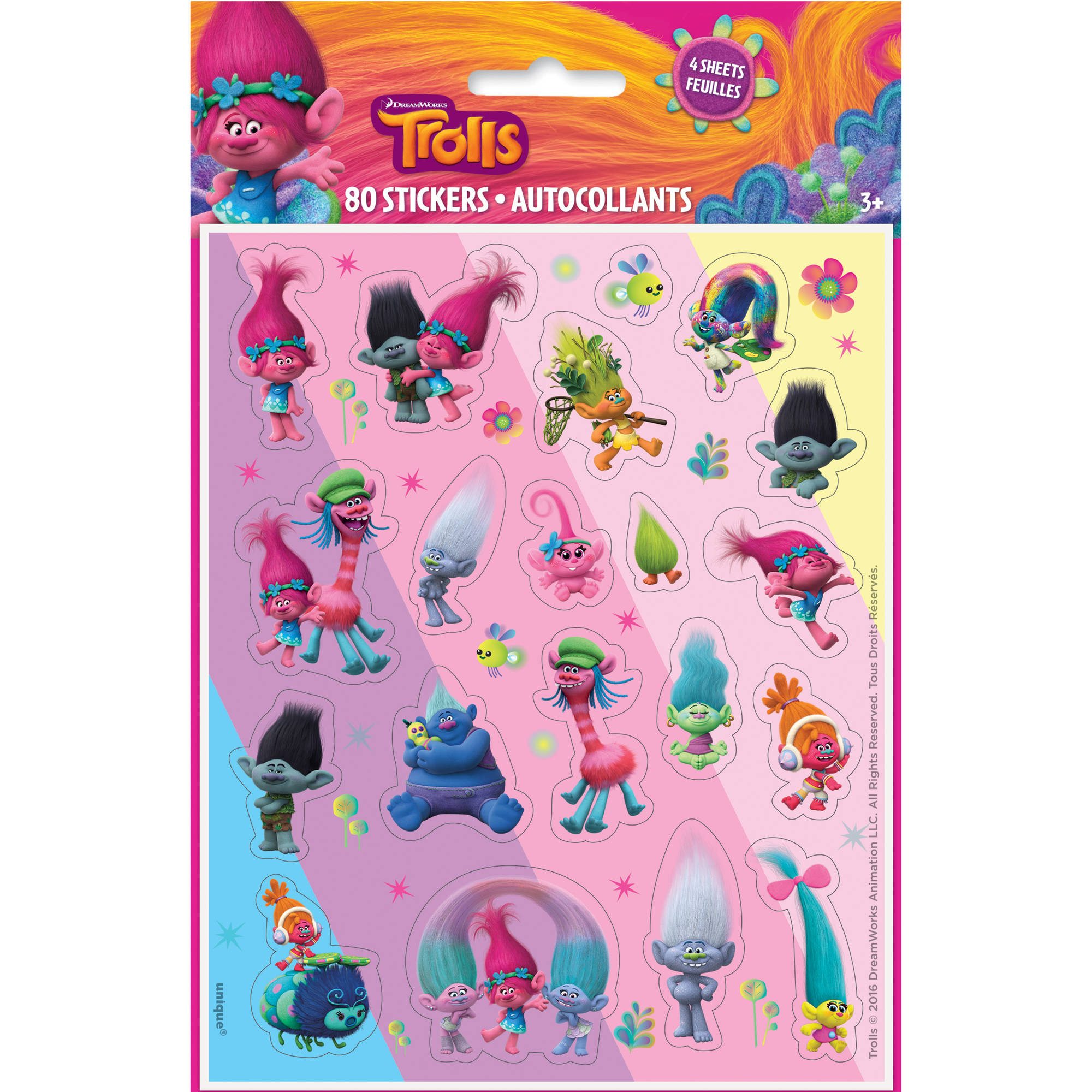 Trolls Sticker Sheets, 4-Count