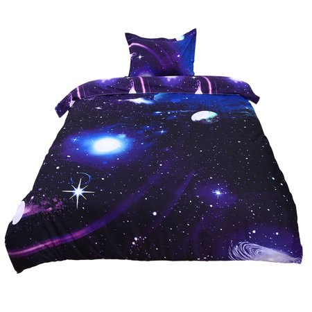 PiccoCasa Galaxy Sky Cosmos Night Pattern 3D Printed Single Size 2pcs Bedding Quilt Duvet Cover Set Dark Purple