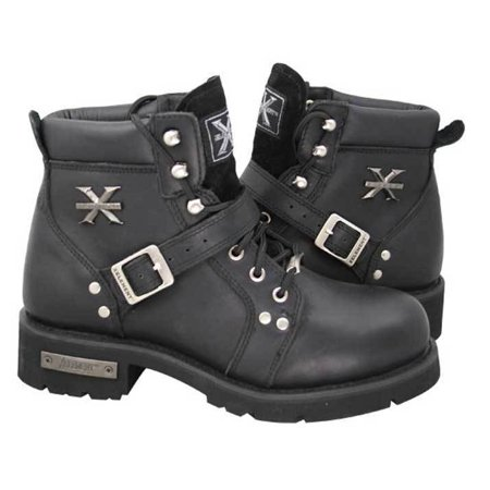 Xelement 2469 Women's Black Advanced Lace Up Motorcycle Biker Boots ()
