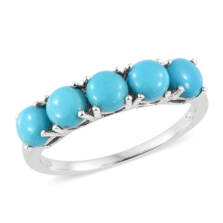 Handcrafted 925 Silver Turquoise Ring (925 Sterling Silver Platinum Plated Round Sleeping Beauty Turquoise 5 Stone Promise Ring for Women)