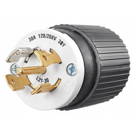 BRYANT Locking PlugBlack Wht120 208VAC3 0 HP 72130NP