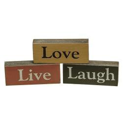 Assorted Live Love Laugh Wood Blocks - Set of - Blocks Of Wood
