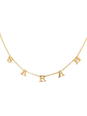 """Personalized Sterling Silver, Gold Plated, 10K Yellow Gold or 14K Yellow Gold Three To Nine Block Initials Necklace With 18"""" Link Chain"""