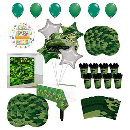 Mayflower Products Army Birthday Party Supplies 8 Guests Military Camouflage Balloon Bouquet Decorations