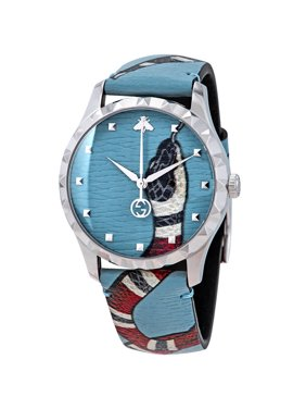 d115e88e4b8c4 Product Image Gucci G-Timeless Blue with Kingsnake Head Print Dial Leather  Watch YA1264080