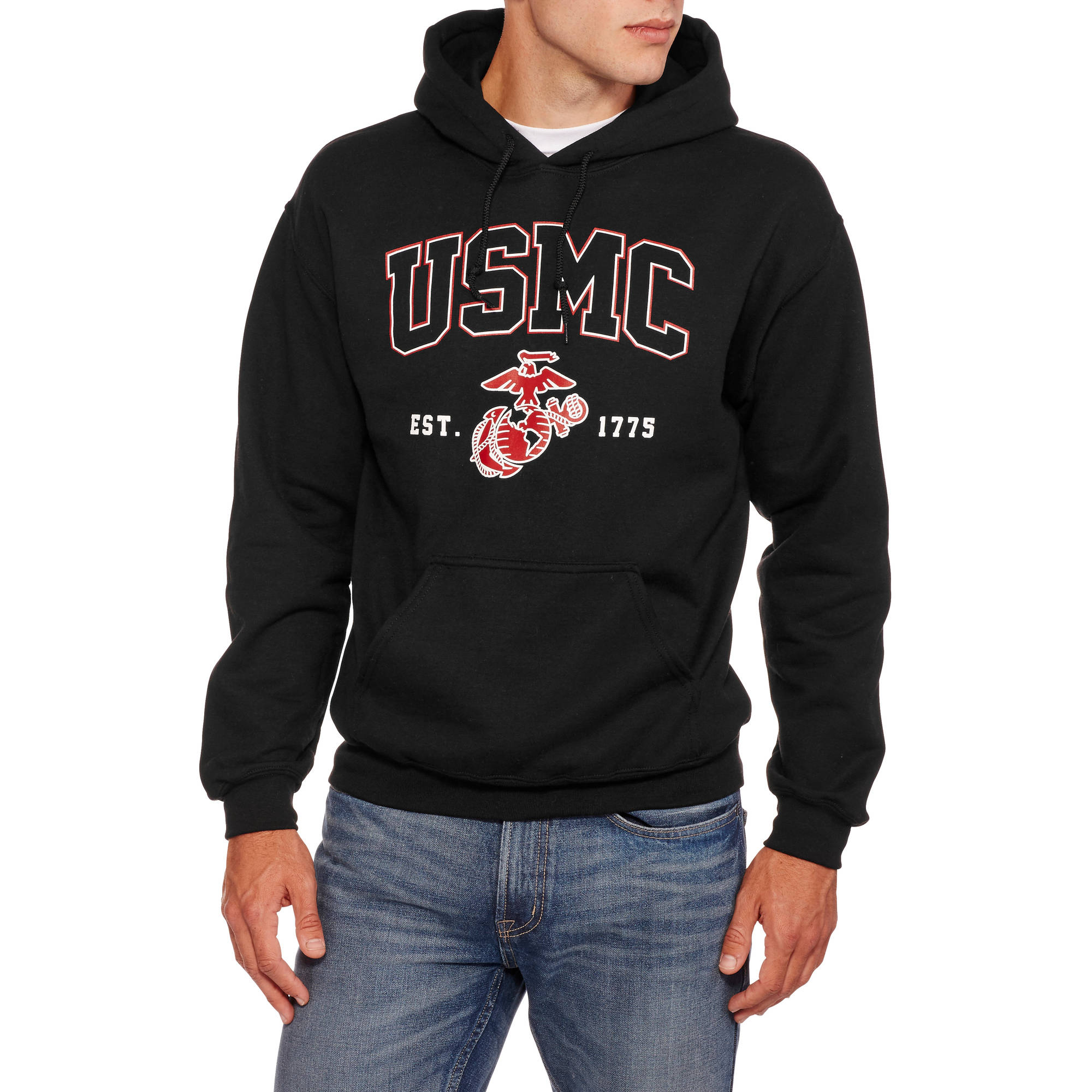 Military Officially Licensed Big Men's Marine Fleece Hoodie, 2XL