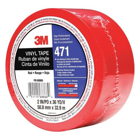 SCOTCH 471 Marking Tape,2In W,108 ft. L,Red 471 Marking Tape