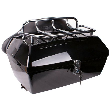Black Motorcycle Tour Pack Trunk Top Luggage Case Top Rack Backrest Tail Box For Harley Honda Yamaha Suzuki Cruiser Latch Key Motorcycle Luggage Rack Bags