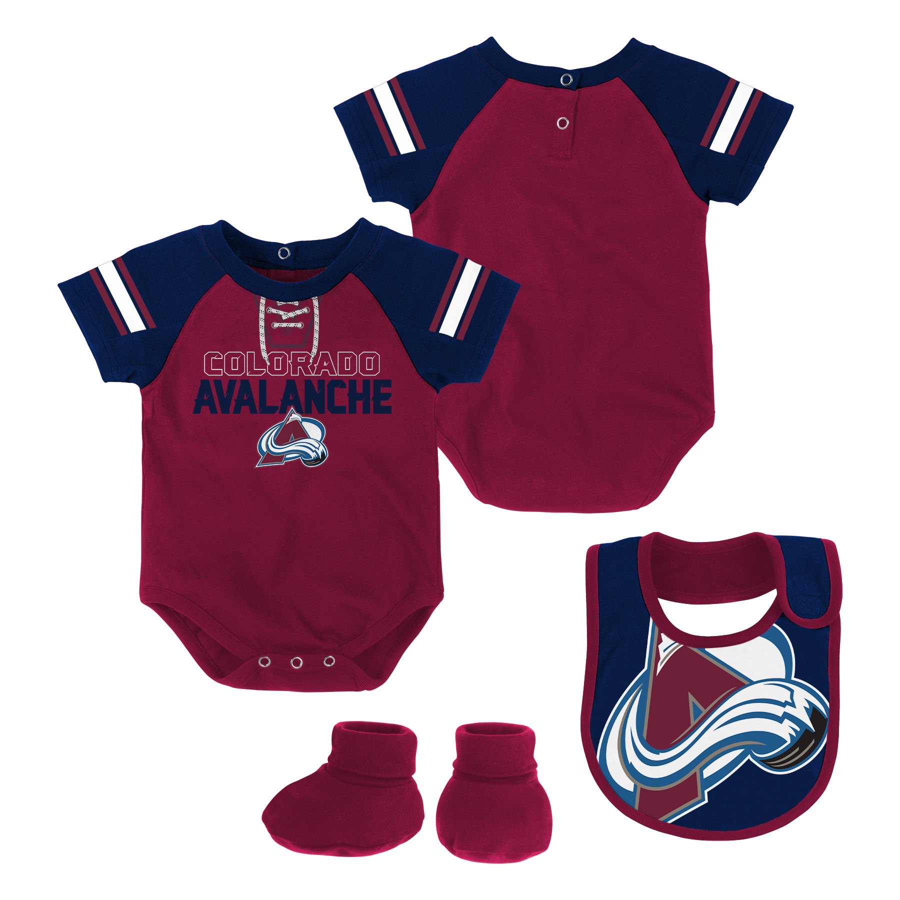 Newborn & Infant Burgundy Colorado Avalanche Little D-Man Bodysuit, Bib & Booties Set by Outerstuff