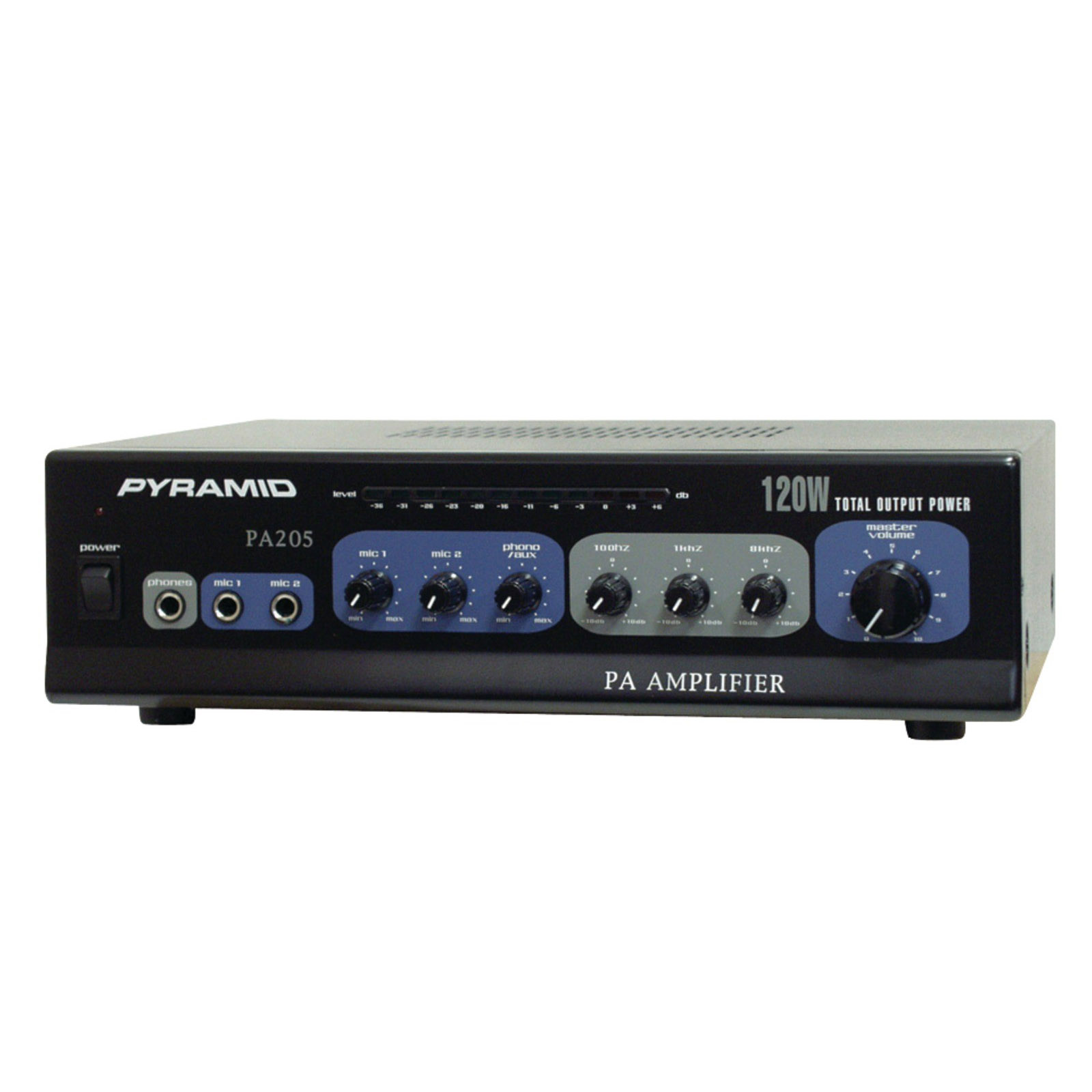 """Pyramid 120 Watt Microphone PA Amplifier with 70V Output """"and Mic Talkover"""