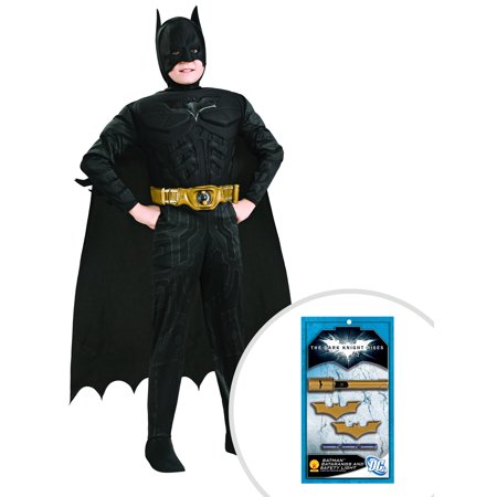 Boy's Deluxe The Dark Knight Batman Muscle Chest Costume and Batman's Gold Batarangs and Safety Light - Batman Batarangs For Sale