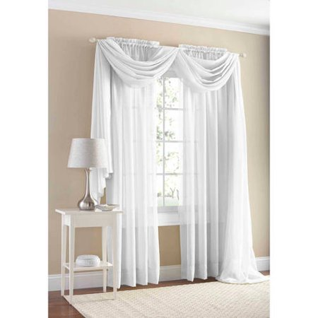 Mainstays Marjorie Sheer Voile Curtain Panel White 59 X 95