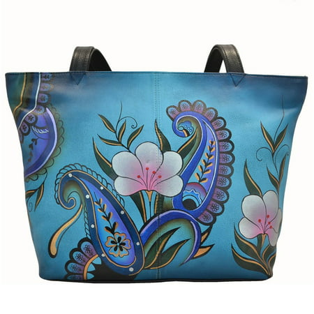 Anna By Anuschka Tote Handbag - Hand Painted Design on Real Leather - Free Purse Holder