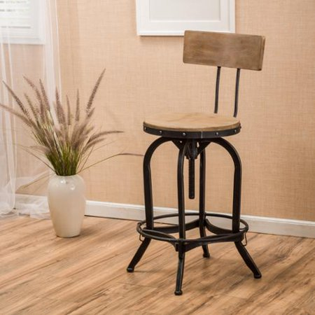 Paisley Naturally Antique Fir Wood Barstool With Backrest