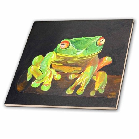 3dRose Tree Frog - amphibian, tree frog, green frog, green tree frog, tree, animal, nature - Ceramic Tile, 8-inch (Frog Tile)