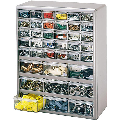 Stack-On 39-Bin Plastic Drawer Cabinet, Silver Gray