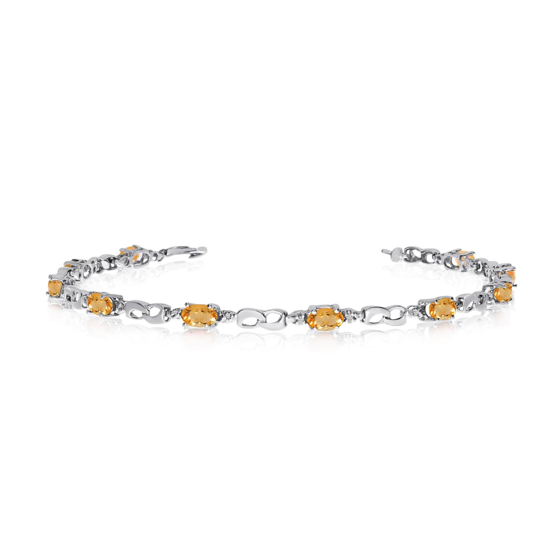 14K White Gold Oval Citrine and Diamond Link Bracelet by