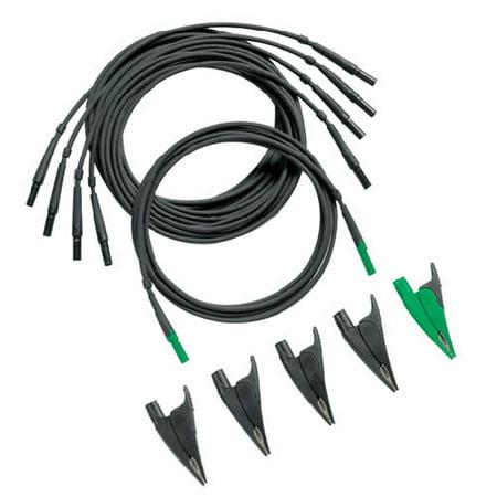 Fluke TLS430 Test Leads and Alligator Clips (4 Black/1 Green) Great Test Leads