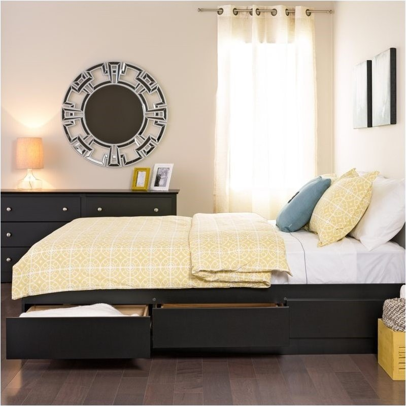 Pemberly Row Black Full Platform Storage Bed with 6 Drawers
