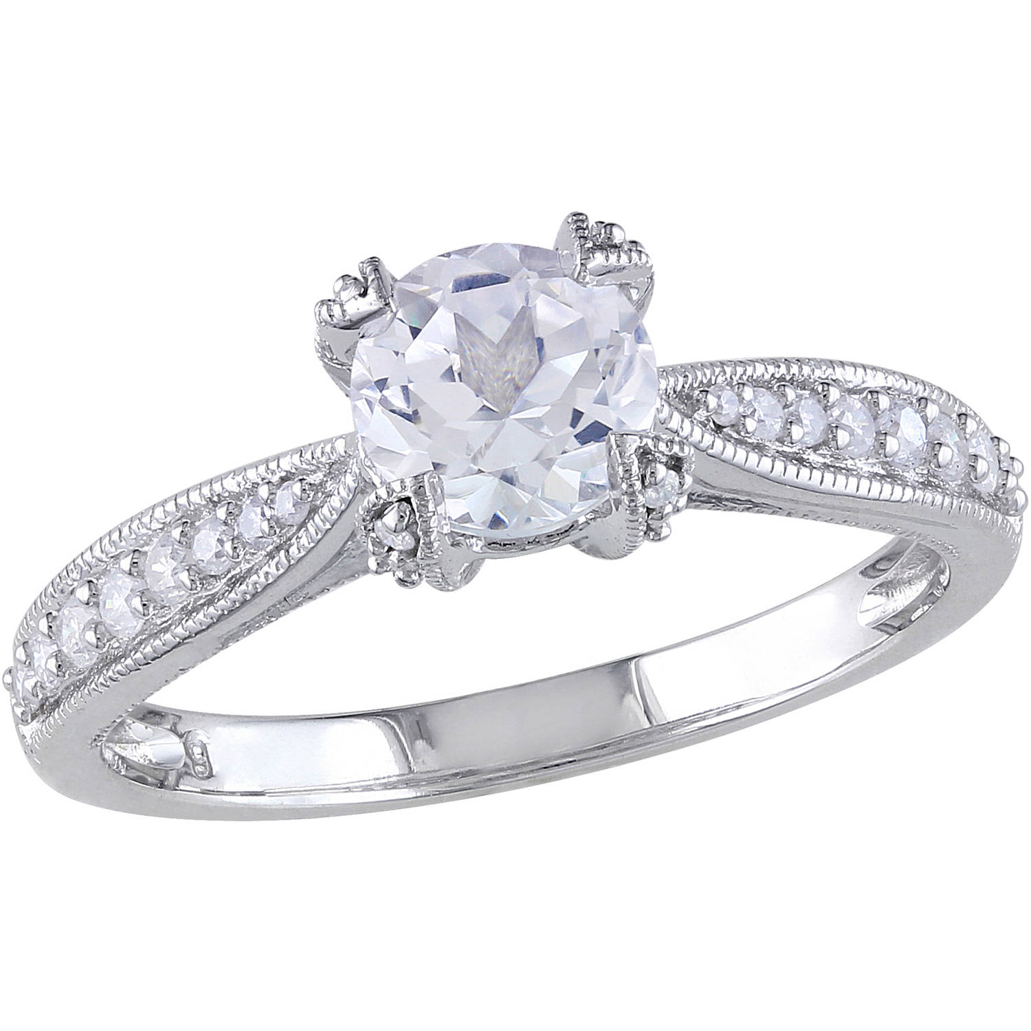 Miabella 1/5 Carat T.W. Diamond and 1 Carat T.G.W. Created White Sapphire Sterling Silver Engagement Ring