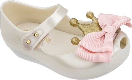 mini melissa Girls Ultragirl Princess Bow Me B Pink//Beige 12 Little Kid Toddler//Little Kid