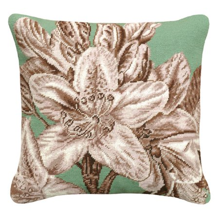 123 Creations Floral Lily Needlepoint Wool Throw Pillow