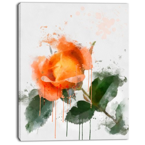 Design Art 'Orange Rose Sketch Watercolor' Painting Print on Wrapped Canvas