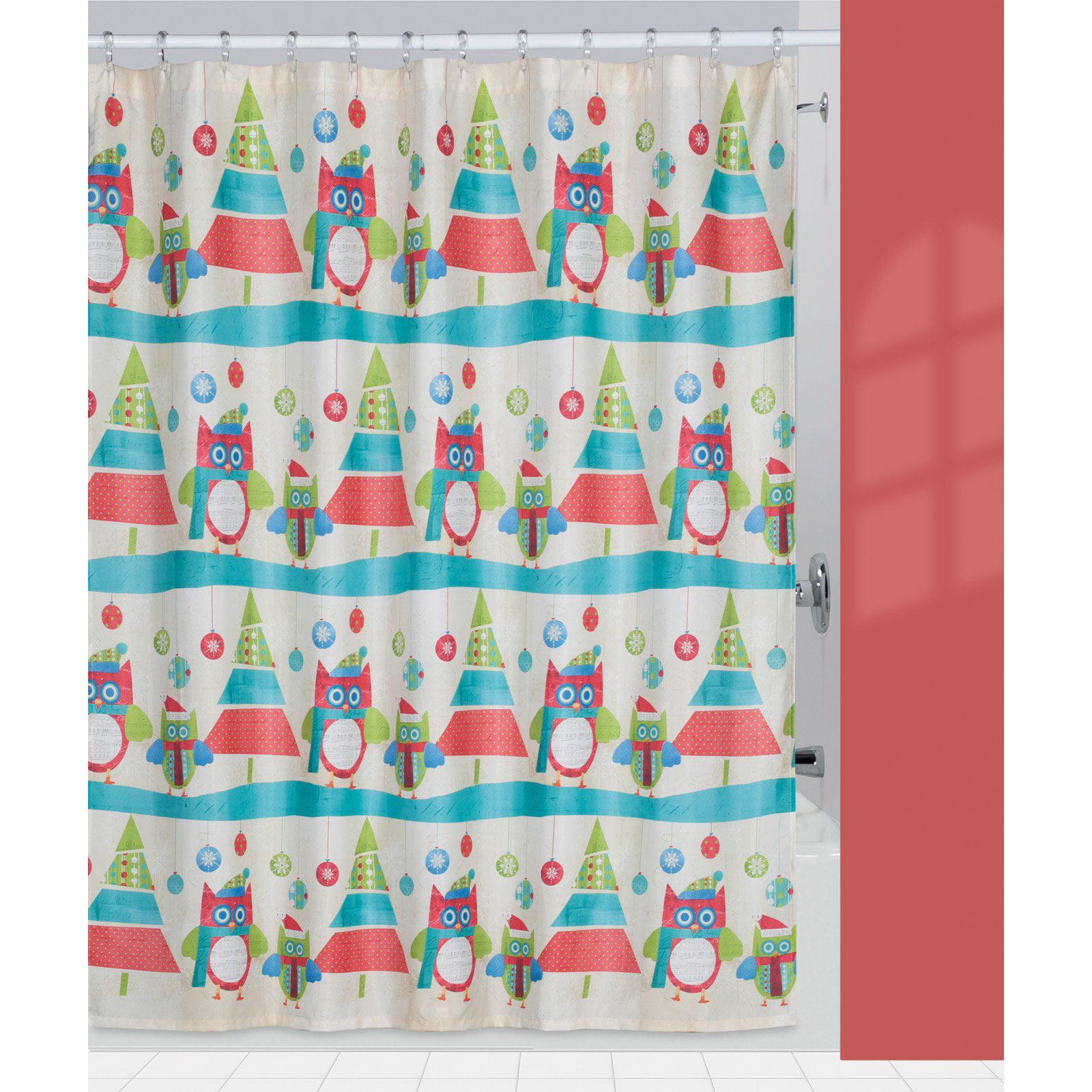 Creative Bath Christmas Owls U0026amp; Trees Fabric Shower Curtain   Walmart.com
