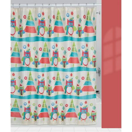 Creative Bath Christmas Owls Amp Trees Fabric Shower Curtain
