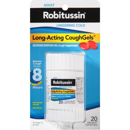 Robitussin Adult Lingering Cold Long-Acting Cough Gels 8-Hour Cough Suppressant Liquid Gels, 20 ct