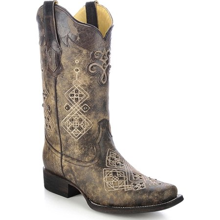 - CORRAL Women's Studded Embroidered Cowgirl Boot Square Toe Black 9 M US