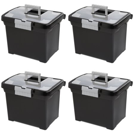 Sterilite Portable File Box with Handle and Clear Lid (4 Pack) | 18719004