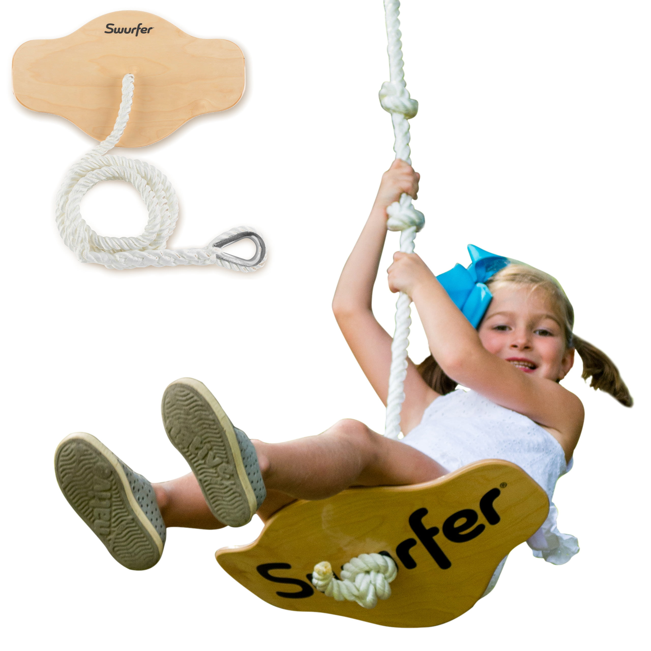 Swurfer Swift Maple Wood Curved Disc Swing With Heavy Duty Braided Rope Holds Up To 150 Pounds Ages 4 And Up Walmart Com Walmart Com