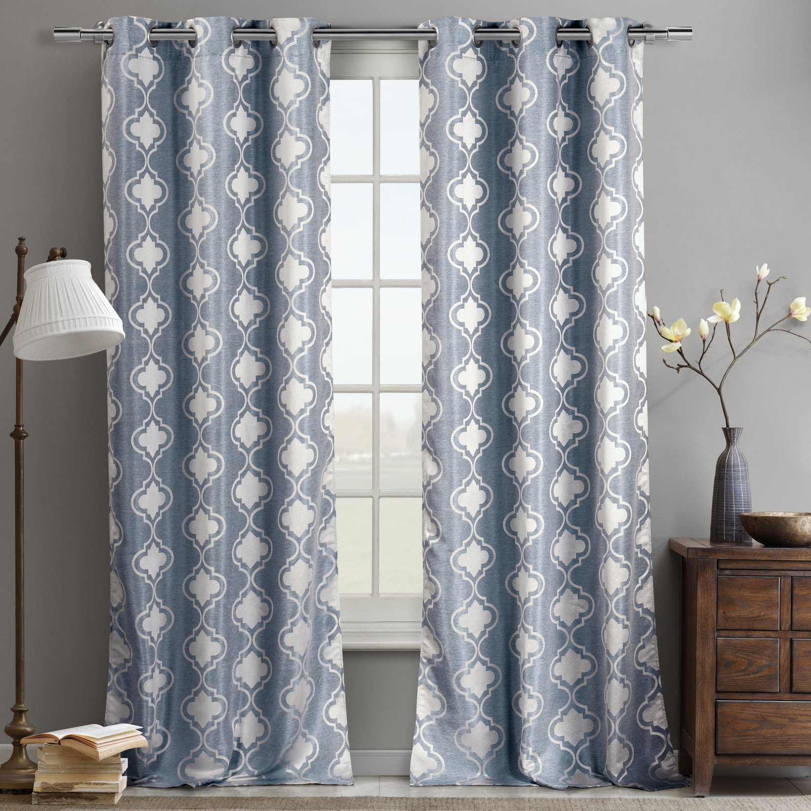 DR International Crystina Jacquard Geometric Semi-Sheer Grommet Curtain Panels (Set of 2)