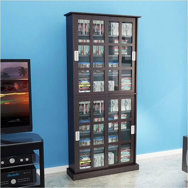 "Pemberly Row 72"" Windowpane Media Cabinet in Espresso by"
