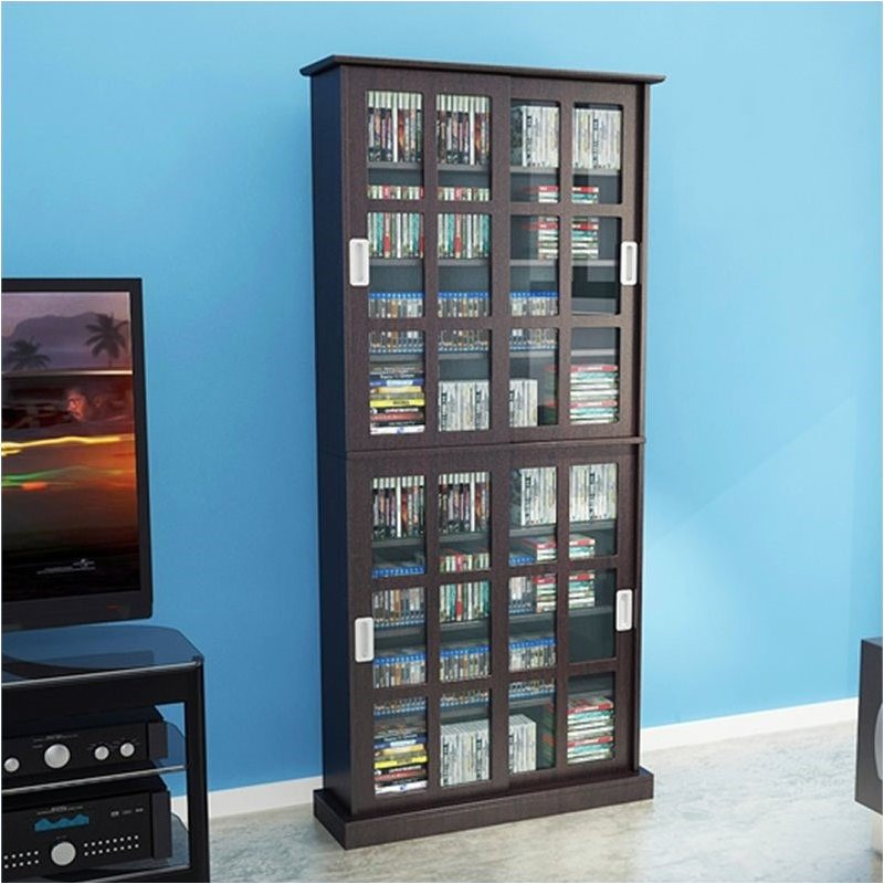 "Pemberly Row 72"" Windowpane Media Cabinet in Espresso"