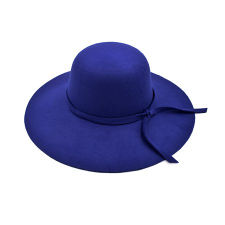 Women's Premium Felt Wide Brim Floppy - Blue Fur Hat