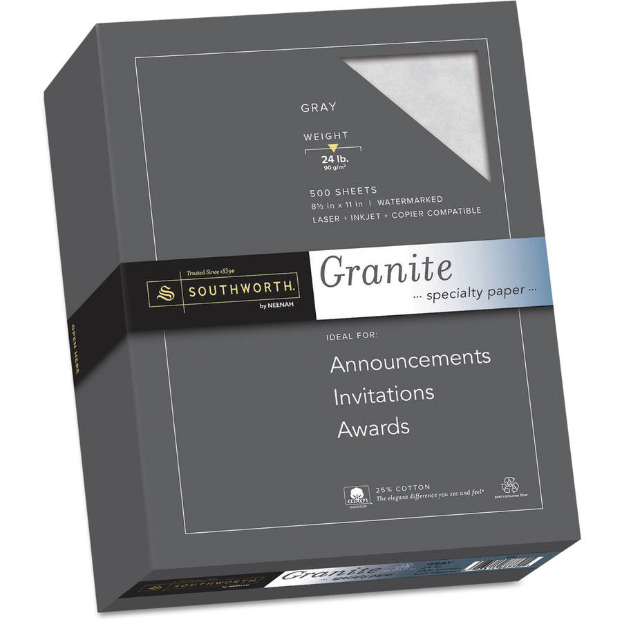 """Southworth Granite Specialty Paper, Gray, 8.5"""" x 11"""", 25 Percent Cotton, 500-Pack"""