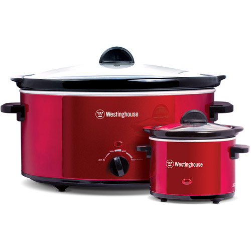 Westinghouse 8 Quart Stainless Steel Slow Cooker with Warmer, Red   WSC801RD