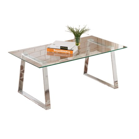 Chrome Metal & Tempered Glass Top Occasional Modern Cocktail Coffee Table