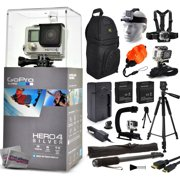 "GoPro Hero 4 HERO4 Silver CHDHY-401 with Travel Charger + (2) Extra Batteries + 60? Tripod + 67"" Monopod + Backpack + Headstrap + Chest Harness Mount + Floaty Strap + HDMI Cable + Wrist Glove Strap"
