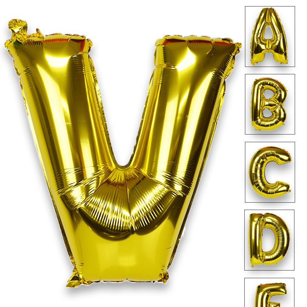 Just Artifacts Glossy Gold (30-inch) Decorative Floating Foil Mylar Balloons - Letter: V - Letter and Number Balloons for any Name or Number Combination!
