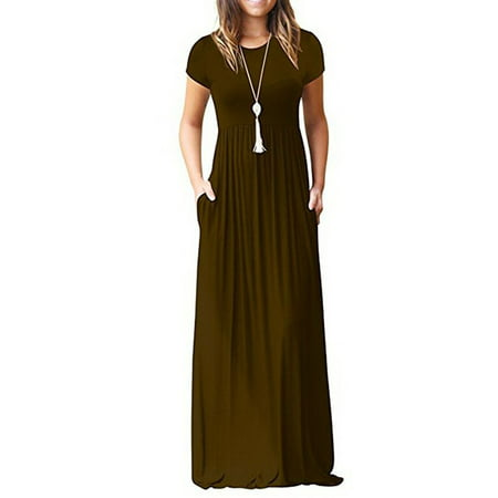 Casual Long Dress for Women Solid Color Long Sleeve Maxi Dress with Pocket