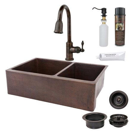 Premier Copper Products KSP2 KA60DB33229 Double Basin Farmhouse Sink with Faucet