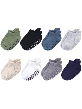 Touched by Nature Baby and Toddler Boy Organic Cotton Socks with Non-Skid Gripper for Fall Resistance, 8-Pack