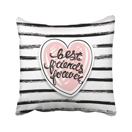 ARTJIA Friendship Best Friends Forever Letters Bff Quote Teen Lettering Applique Brotherhood Pillowcase Pillow Cover 18x18 (Best Friend Leaving Letter)